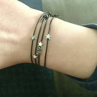 Four Black Leather with Tiny Silver Stars Stacking Friendship Bracelets,