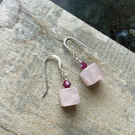 Rose Quartz Cube earrings with Fushcia Pink Swarovski Crystal Drop Earrings