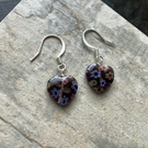 Purple Millefiori Heart Drop Earrings