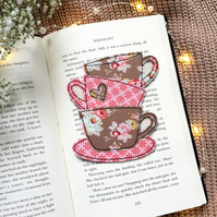 Tea cup stack bookmark, reading gift for book lovers