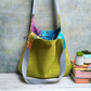 Vibrant Green Hobo Bag with Batik Print Lining