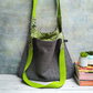 Grey Woven Textile and Vibrant Green Hobo Bag