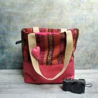 Woven Textile and Raspberry Oilcloth Shoulder Tote