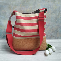 Striped Textile and Cork Fabric Bucket Bag