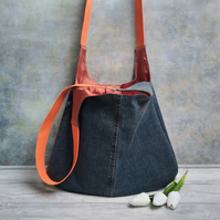 Denim and Silk Lined Hobo Bag