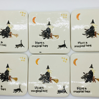 Set of Six Ceramic Witch and Cat Coasters. Homeware. Kitchen and Dining. Drinks.