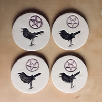 Gothic Halloween Ceramic Coasters. Set of 4