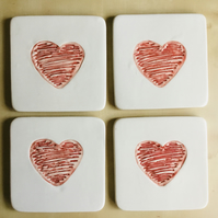 Square Ceramic Coasters. Hearts. Handmade. Red Hearts. Kitchen and Dining.