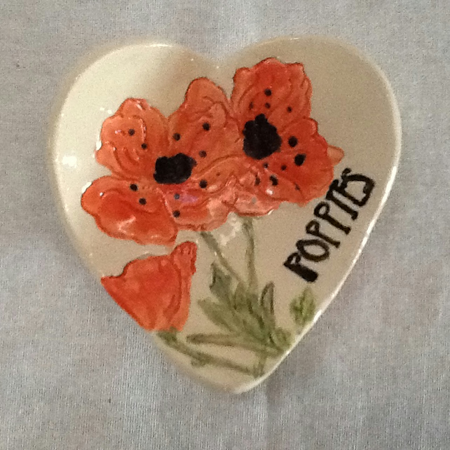 Made to Order. Handmade Ceramic Heart Shaped Poppies Dish. Christmas Gift