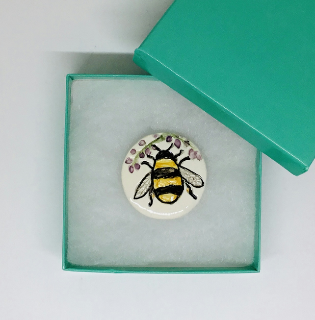 Bumble Bee Brooch. Handmade and Hand Painted Christmas Gift