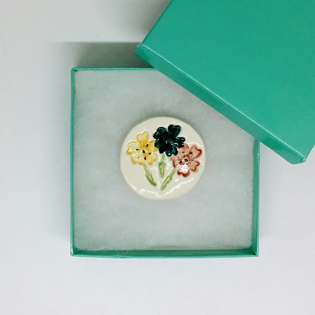 Ceramic Flower Brooch. Handmade and Hand Painted. Gift for Christmas. Women.