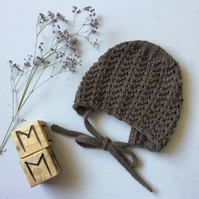 Hand Knitted Vintage Style Brown Bonnet