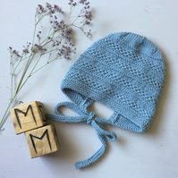 Hand Knitted Traditional Style Baby Bonnet