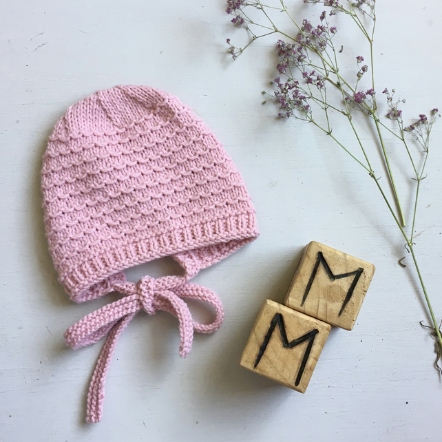 Hand Knitted Traditional Style Pink Bonnet