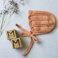 Hand Knitted Vintage Style Apricot Bonnet