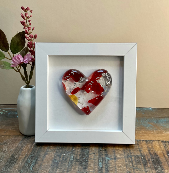 Fused glass framed heart
