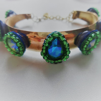 green and gold up-cycled bangle