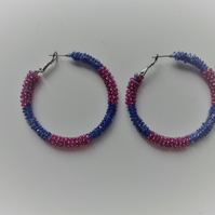 beaded hoop earrings pink and blue up-cycled