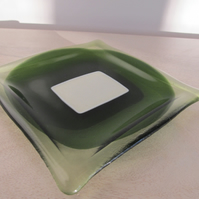 Green and vanilla square glass  dish