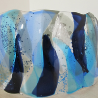 blue curved glass shade or ornament -cool flowing river