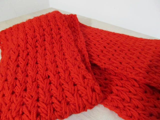 Bright red long scarf