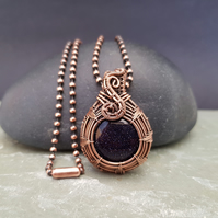 Blue Goldstone and Copper Pendant