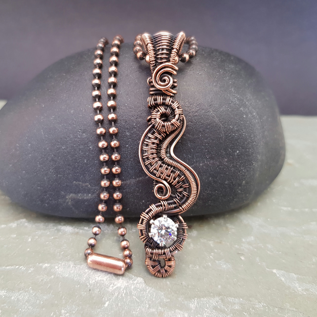 Cubic Zirconia and Copper Wire Woven Pendant