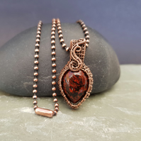 Dainty Poppy Jasper and Copper Necklace