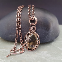 Faceted Yellow Quartz and Copper Necklace