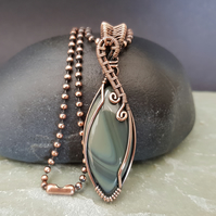 Wrapped and Woven Banded Agate Unisex Pendant