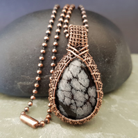 Snowflake Obsidian and Copper Wire Wrapped and Woven Necklace