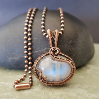 Dainty Moonstone and Copper Necklace