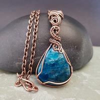 Wire Wrapped Neon Apatite and Copper Pendant on a Copper Chain
