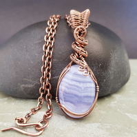 Wire Wrapped Blue Lace Agate and Copper Pendant