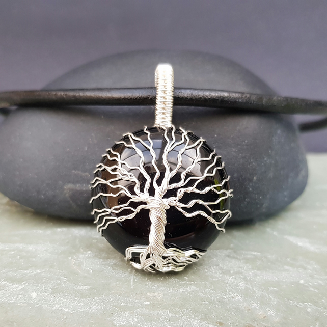 Black Agate Wire Wrapped Tree of Life Unisex Pendant
