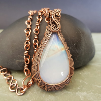 Moonstone and Copper Hand Woven Pendant on a Handmade Copper Chain
