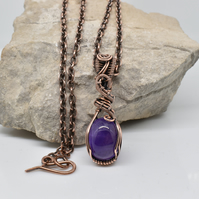 Amethyst and Copper Wire Wrapped Pendant