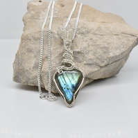 Labradorite and Silver Pendant on an 18 inch Sterling Silver Chain