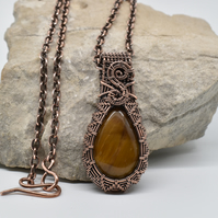 Tigers Eye and Copper Woven Gothic Style Pendant