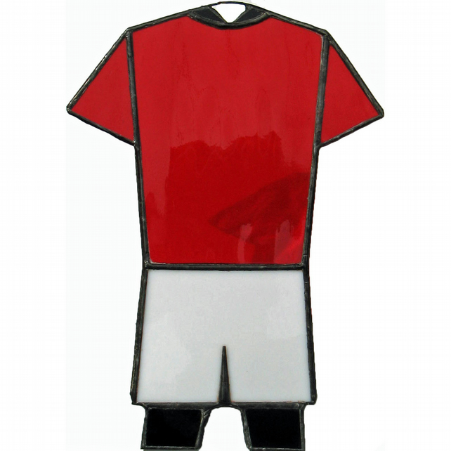 RED, WHITE & BLACK Football, Rugby Kit Stained Glass Suncatcher
