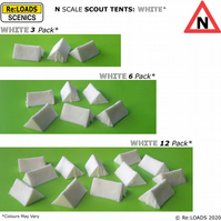 WHITE SCOUT TENTS, N Scale N Gauge Model Railway Camping Diorama Scenery Details
