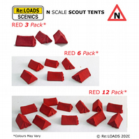 RED SCOUT TENTS, N Scale N Gauge Model Railway Camping Diorama Scenery Details