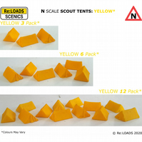 YELLOW SCOUT TENTS, N Scale N Gauge Model Railway Camping Diorama Scenery Detail