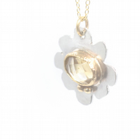 Natural Citrine Silver and Solid Gold Flower Pendant