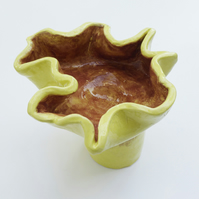Handmade 'Yellow Leather Coral' Ceramic Sculpture