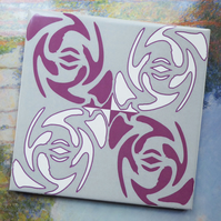 Dark Pink and Grey Knot Garden Ceramic Tile with Cork Backing - SALE ITEM