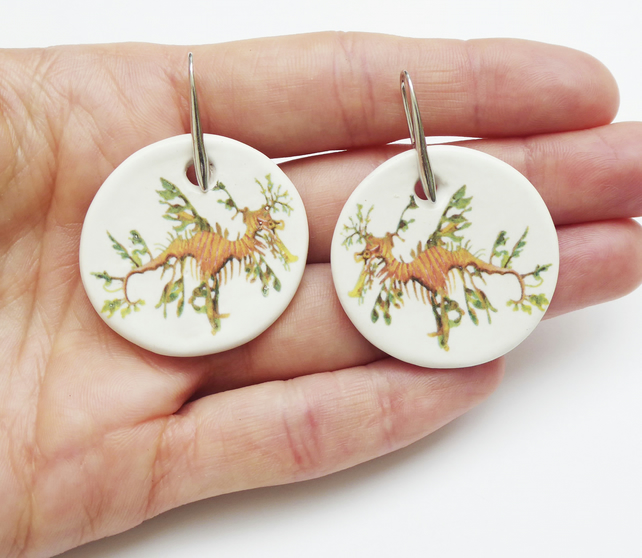 Handmade Leafy Seadragon Ceramic Earrings with Silver Coloured Ear Wires
