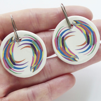Handmade Wing Design Ceramic Earrings with Silver Coloured Ear Wires