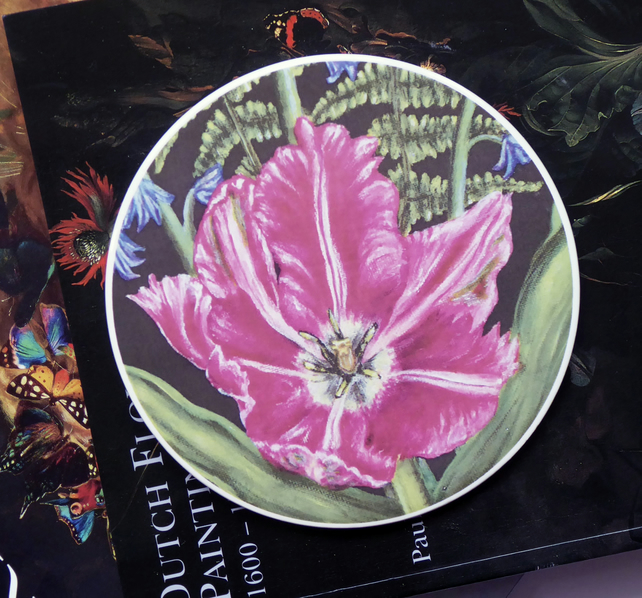 Tulip and Bracken Artwork Round Ceramic Tile Trivet with Cork Backing