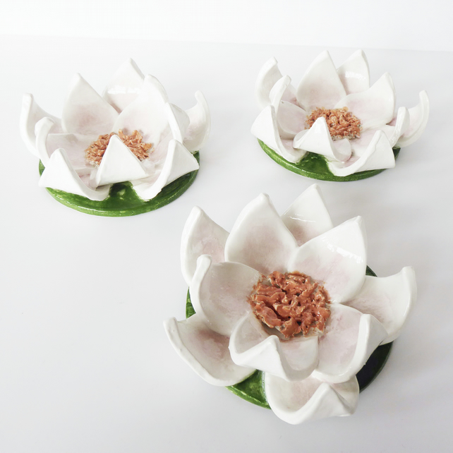 Handmade Ceramic Waterlily Ornament